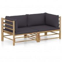 Set de muebles de jardín 2 piezas bambú y cojines gris oscuro, Modelo Rone