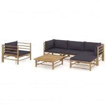 Set de muebles de jardín 6 piezas bambú y cojines gris oscuro, Modelo Rion