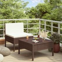 Set de muebles de jardín 2 piezas con cojines ratán PE marrón, modelo Made
