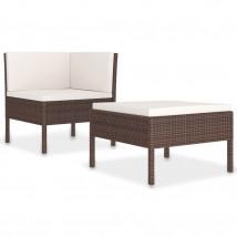Set de muebles de jardín 2 piezas con cojines ratán PE marrón, Modelo Doma