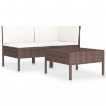 Set muebles de jardín 3 pzas y cojines ratán sintético marrón, Modelo Recol