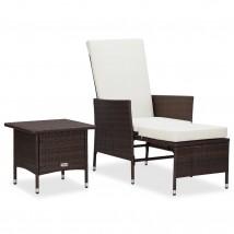 Set de muebles de jardín 2 piezas con cojines ratán PE marrón, Modelo Recol