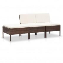 Set muebles de jardín 3 piezas y cojines ratán sintético marrón, Modelo Roca