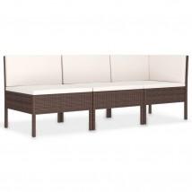 Set muebles de jardín 3 piezas y cojines ratán sintético marrón, Modelo Pernic
