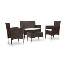 Set muebles de jardín 4 piezas y cojines ratán sintético marrón, Modelo Sota