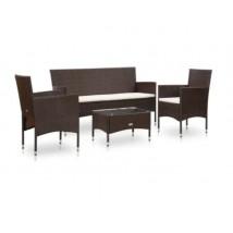 Set muebles de jardín 4 piezas y cojines ratán sintético marrón, Modelo Toqueo