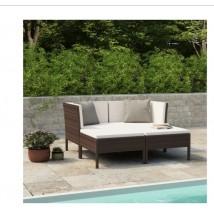 Set muebles de jardín 4 piezas y cojines ratán sintético marrón, Modelo Sinop