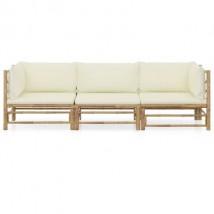 Sofá de dos piezas de bambú, modelo Bamboo 3 Plazas