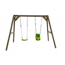 Columpio madera cuadrada asiento bebé Xylo