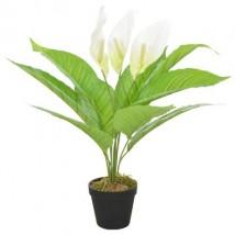 Planta artificial Anthurium con macetero 55 cm blanca