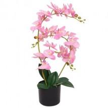 Planta artificial orquídea con macetero 65 cm rosa