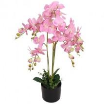 Planta artificial orquídea con macetero 75 cm rosa