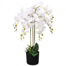 Planta artificial orquídea con macetero 75 cm blanca