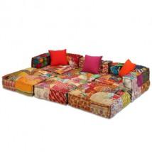 Sofá Puf modular de 3 plazas en patchwork, modelo Trio