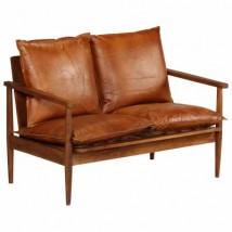 Sofá de 2 plazas de cuero con madera de acacia marrón, modelo Abis