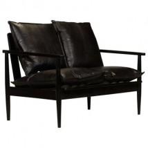 Sofá de 2 plazas de cuero con madera de acacia negra, modelo Abis Negro