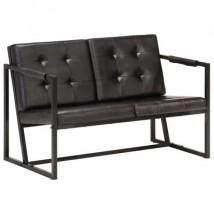 Sofá de 2 plazas cuero auténtico de cabra negro, modelo Natur Negro