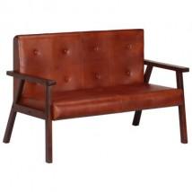 Sofá de 2 plazas cuero auténtico marrón, modelo Mois Marrón