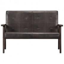 Sofá de 2 plazas cuero auténtico, modelo Mois Gris