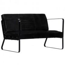 Sofá de 2 plazas cuero, modelo Margit Negro