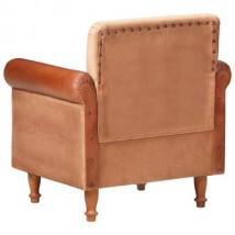 Sillón de cuero auténtico y lona marrón, Modelo Poli Lona Marrón