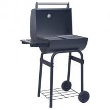 Barbacoa de carbón con ahumador y estante inferior negro, modelo Ave