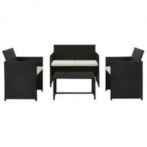 Set muebles de jardín en ratán sintético negro y cojines blanco crema, modelo Mandor