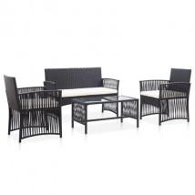 Set muebles de jardín de ratán sintético negro y cojines blancos, modelo Branal