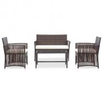 Set muebles de jardín de ratán sintético marrón y cojines blancos, modelo Nelor