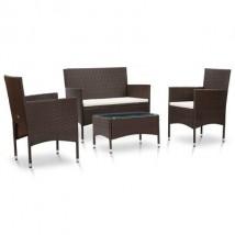 Set de muebles de jardín y cojines ratán sintético, modelo Maracu Marrón