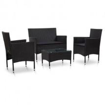 Set de muebles de jardín y cojines ratán sintético, modelo Maracu All Black