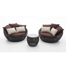 Set de Sofás y Mesa en Rattan