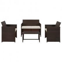 Set muebles de jardín en ratán sintético marrón y cojines blanco crema, modelo Mason