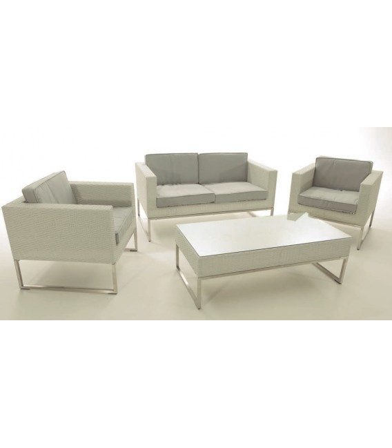 Set en Rattan color Blanco