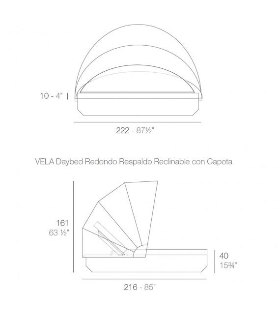 Vela Daybed Basic Redonda Parasol Reclinable