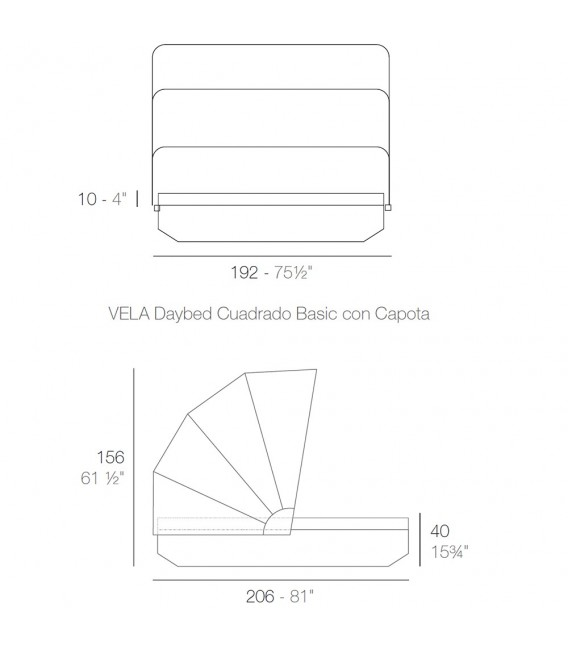 Vela Daybed Basic Cuadrada Parasol, no reclinable